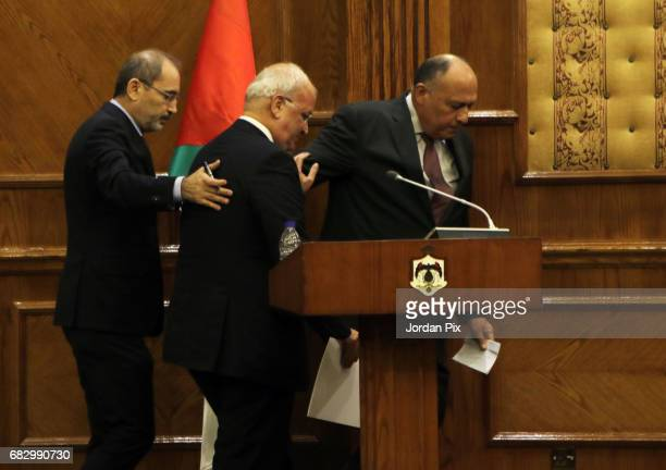 Jordan's foreign minister Ayman Al Safadi, lead negotiator of the Palestinian Authority Saeb Erekat and Egyptian foreign minister Sameh Shokri leave...