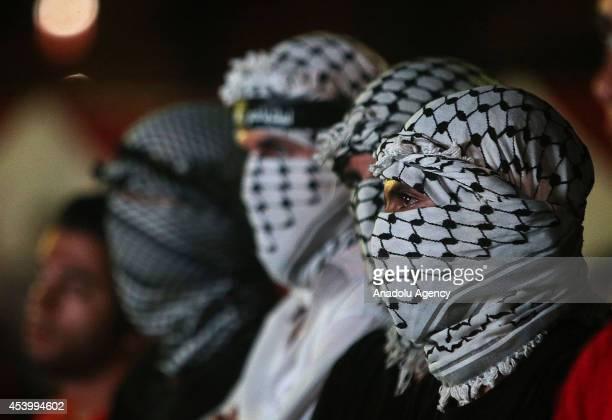 Jordan's Ikhwan al-Muslimun supporters gather to protest Israeli attacks to Gaza in Amman, Jordan, August 22, 2014.