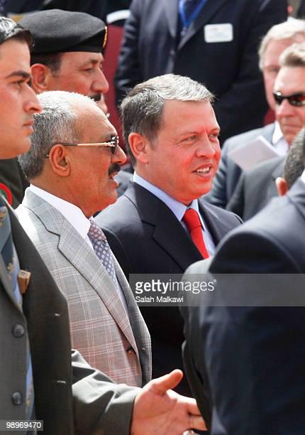 Jordan's King Abdullah and Yemen's President Ali Abdullah Saleh attends the SOFEX Jordan on May 11 2010 in Amman Jordan SOFEX is a four day...