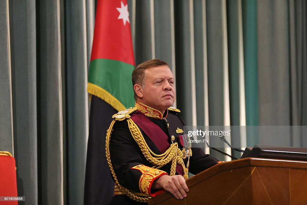 JOR: King Abdullah Attends State Opening Of Jordanian Parliament : News Photo