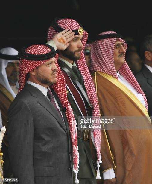 Jordan's King Abdullah II his half brother Prince Hashem Bin AlHussein and Saudi shiekh Mohammad abuNayan attend Prince Hashem's and Princess Fahda...