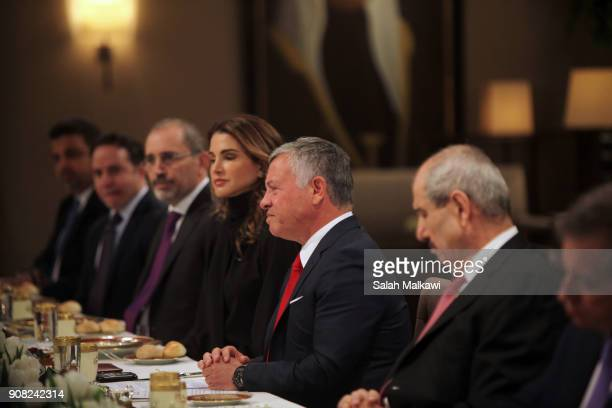 Jordan's King Abdullah II hold expanded talks with US Vice President Mike Pence at the Al Husseineyah Palace on January 21 in Amman Jordan Pence is...