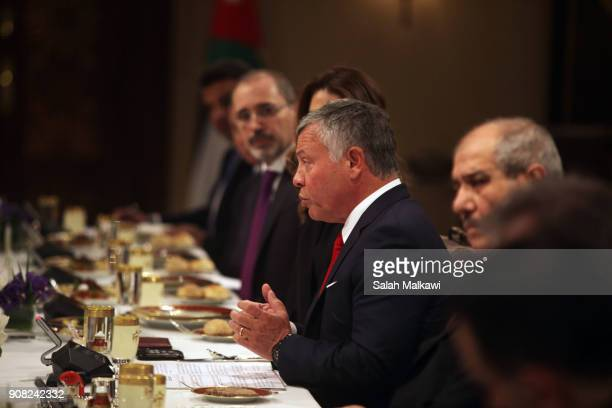 Jordan's King Abdullah II holds expanded talks with US Vice President Mike Pence at the Al Husseineyah Palace on January 21 in Amman Jordan Pence is...