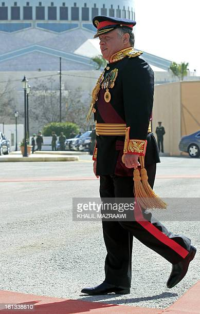 Jordan's King Abdullah II leaves the Jordanian parliament after addressesing the opening of the parliament in the capital Amman on February 10 2013...