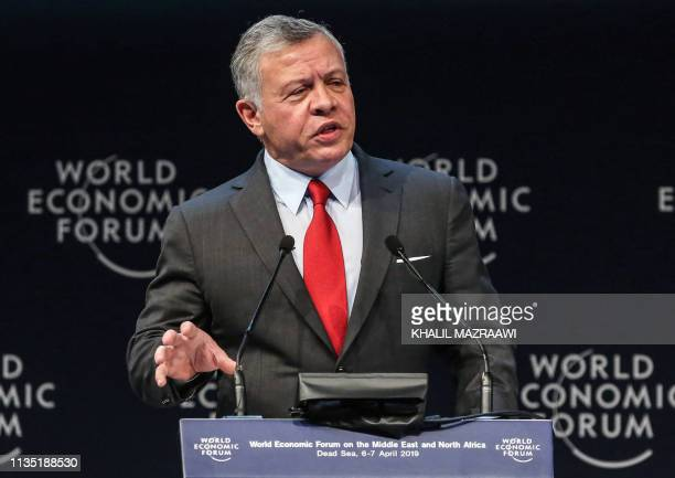 Jordan's King Abdullah II speaks during the opening ceremony of the 2019 World Economic Forum on the Middle East and North Africa at the King Hussein...