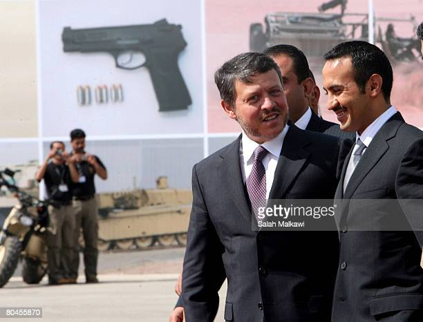 Jordan's King Abdullah II talks to Ahmed Ali Abdullah Saleh son of the Yemeni President Commander of the Special Operations and the Presidential...