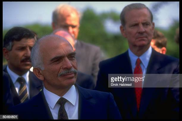 Jordan's King Hussein speaking to press after mtg w Pres Bush re gulf crisis w State Secy Baker outside in Kennebunkport ME
