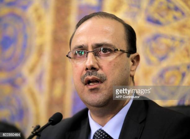 Jordan's Minister of State for Media Affairs Mohammad alMomani speaks during a press conference in the capital Amman on July 25 2017 / AFP PHOTO /...