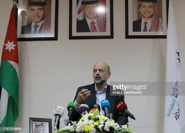 Jordan's Prime Minister Omar alRazzaz gives a press conference in the southern port city of Aqaba on July 23 discussing projects in the area...