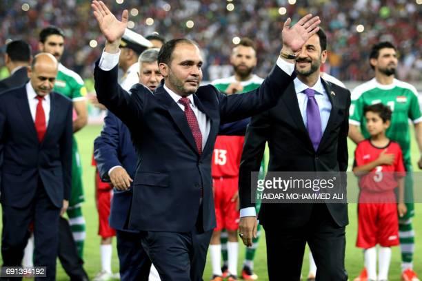 Jordan's Prince Ali bin alHussein the president of the Jordanian Football Association attends the international friendly football match between Iraq...
