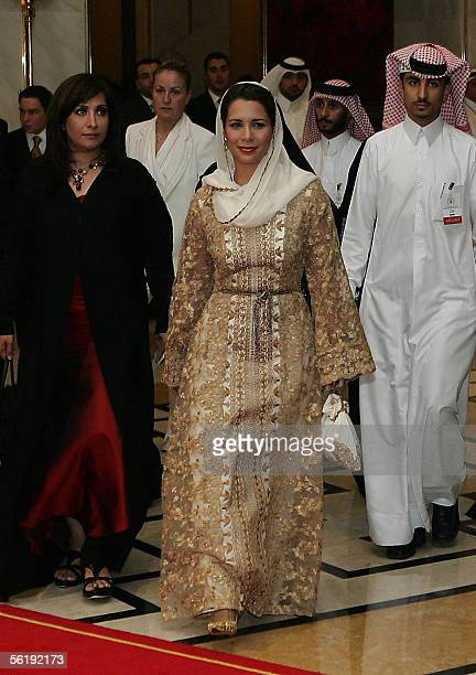 Jordan's Princess Haya bint alHussein sister of King Abdullah II arrives at a reception for the official launch of a charity program to raise money...