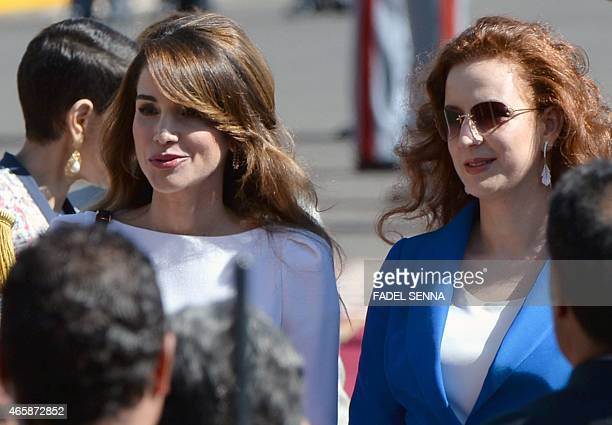 Jordan's Queen Rania and Morocco's Princess Lalla Salma attend a welcome ceremony for Jordanian King Abdullah II at the Royal Palace in the Moroccan...