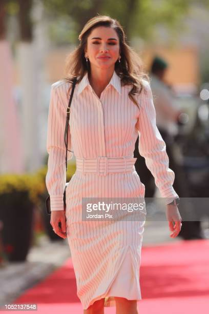 Jordan's Queen Rania arrives at the official ceremony for the state opening of the of Jordan Parliament on October 14, 2018 in Amman, Jordan.
