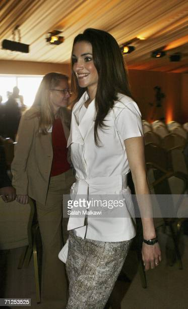 Jordan's Queen Rania arrives for during the opening of the second conference of Nobel Laureates on June 21 2006 at the Nabatean City of Petra in...
