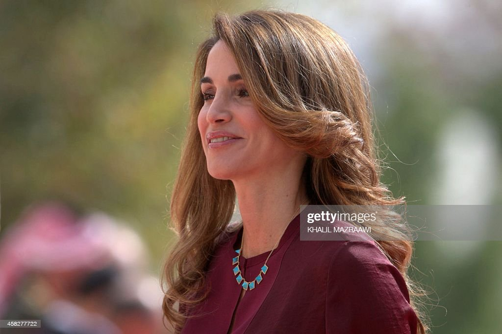 Jordan's Queen Rania arrives to attend the second regular session of the parliament in Amman on November 2, 2014.