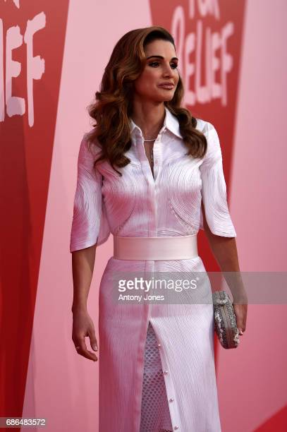 Jordan's Queen Rania attends the Fashion for Relief event during the 70th annual Cannes Film Festival at Aeroport Cannes Mandelieu on May 21 2017 in...