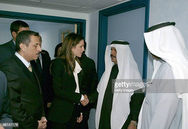 Jordan's Queen Rania meets with relatives of victims of the terrorist hotel bombings November 12 2005 in Amman Jordan Fiftyseven people are reported...