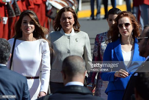 Jordan's Queen Rania Morocco's Princess Lalla Hasna and Princess Lalla Salma attend a welcome ceremony for Jordanian King Abdullah II at the Royal...