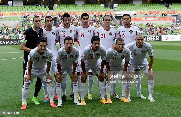 Jordan's team poses for a photograph during the Group D Asian Cup football match between Palestine and Jordan in Melbourne on January 16 2015 USE