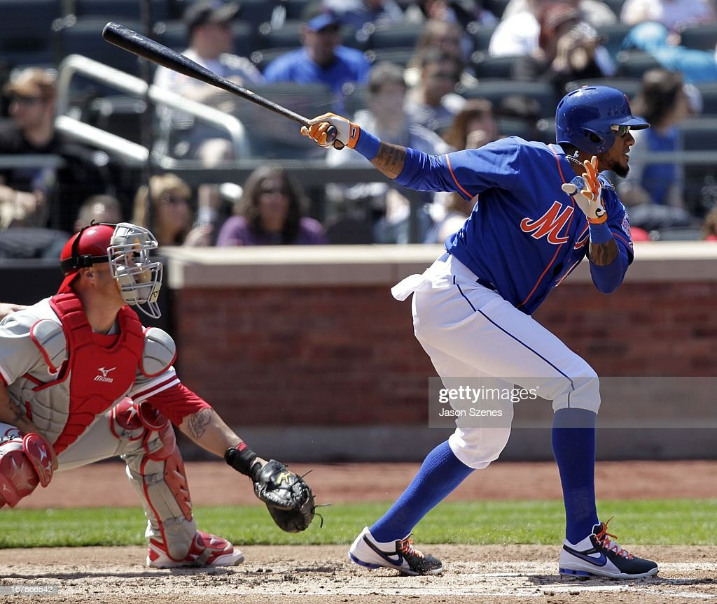Jordany Valdespin #1 of the New York Mets connects on a RBI double in the second inning against the Philadelphia Phillies at Citi Field on April 27, 2013 in the Flushing neighborhood of the Queens borough of New York City. (Photo by Jason Szenes/Getty Images