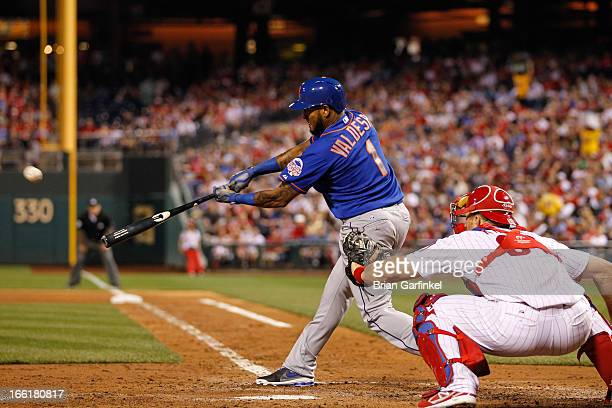 Jordany Valdespin of the New York Mets hits a triple in the fifth inning of the game against the Philadelphia Phillies at Citizens Bank Park on April...