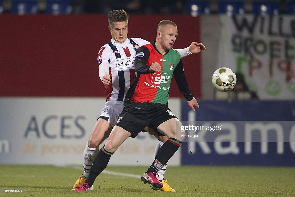 Jordens Peters of Willem II, Melvin Platje of NEC Nijmegen during the Dutch Eredivisie Match between Willem II and NEC Nijmegen at the Koning Willem II Stadium on february 22, 2013 in Tilburg, The Netherlands