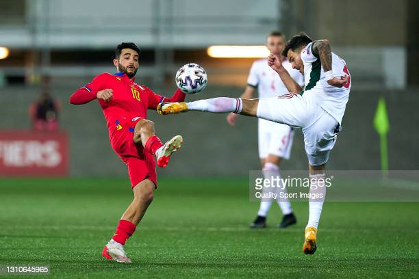 Jordi Alaez of Andorra competes for the ball with Attila Fiola of Hungary during the FIFA World Cup 2022 Qatar qualifying Group I match between...