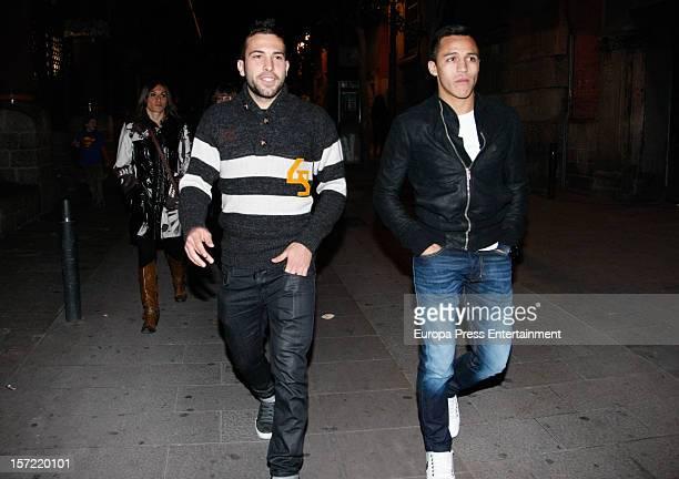 Jordi Alba and Alexis Sanchez attend Alejandro Sanz's concert on November 29 2012 in Barcelona Spain