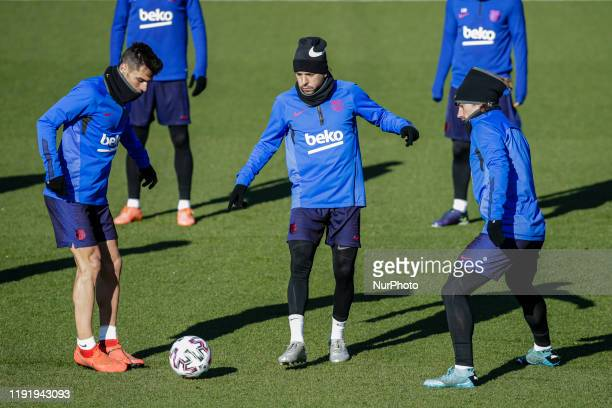 Jordi Alba and Antoine Griezmann during tradicional open doors training session of FC Barcelona and at Johan Cruyff Stadium on January 05 2020 in...
