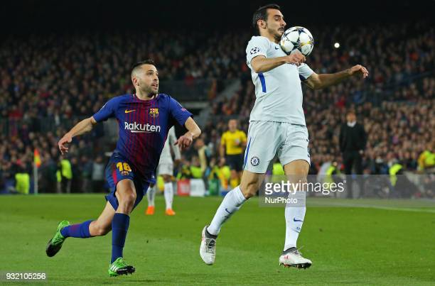 Jordi Alba and Davide Zappacosta during the match between FC Barcelona and Chelsea FC for the secong leg of the 1/8 final of the UEFa Champions...