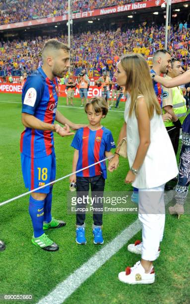 Jordi Alba and Romarey Ventura attend the Copa del Rey Final match between FC Barcelona and Alaves FC at Vicente Calderon Stadium on May 28 2017 in...