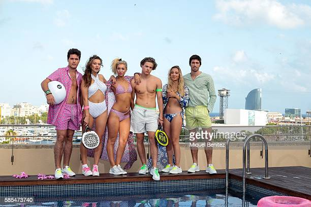 Jordi Alba Chiara Ines Pau Ines and Fernando are wearing Bcn Brand Shirts bikini shirtwaist dress paddle rackets and trainers at the Duquesa Suites...