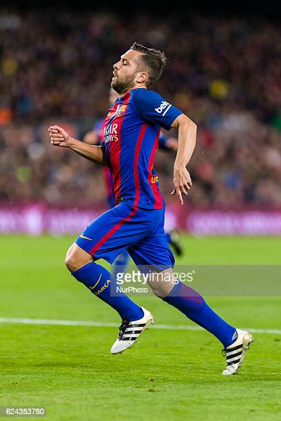 Jordi Alba during the match between FC Barcelona vs Malaga CF for the round 12 of the Liga Santander played at Camp Nou Stadium on 19th November 2016...