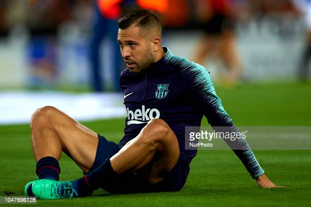 Jordi Alba in the warm up before the week 8 of La Liga match between Valencia CF and FC Barcelona at Mestalla Stadium in Valencia Spain on October 7...