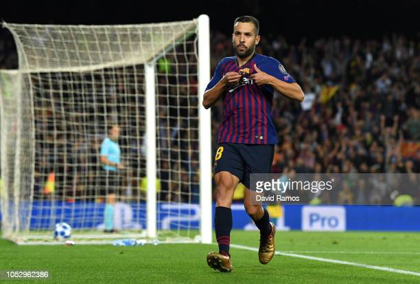 Jordi Alba of Barcelona celebrates after scoring his team's second goal during the Group B match of the UEFA Champions League between FC Barcelona...