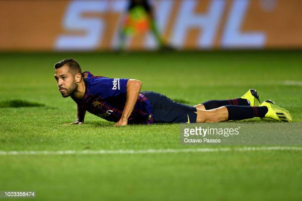 Jordi Alba of Barcelona reacts during the La Liga match between Real Valladolid CF and FC Barcelona at Jose Zorrilla on August 25 2018 in Valladolid...