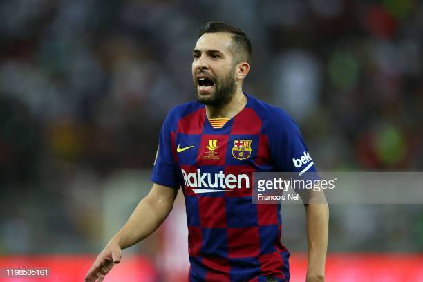 Jordi Alba of Barcelona reacts during the Supercopa de Espana SemiFinal match between FC Barcelona and Club Atletico de Madrid at King Abdullah...