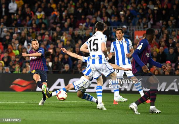 Jordi Alba of Barcelona scores his sides second goal during the La Liga match between FC Barcelona and Real Sociedad at Camp Nou on April 20 2019 in...