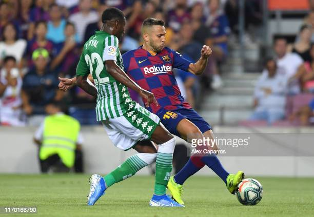 Jordi Alba of Barcelona scores his team's fourth goal during the Liga match between FC Barcelona and Real Betis at Camp Nou on August 25 2019 in...