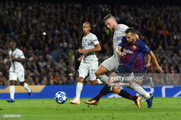 Jordi Alba of Barcelona scores his team's second goal during the Group B match of the UEFA Champions League between FC Barcelona and FC...