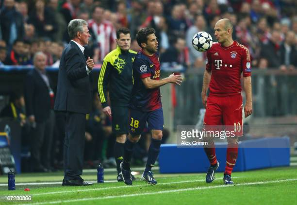 Jordi Alba of Barcelona throws the ball at Arjen Robben of Bayern Muenchen during the UEFA Champions League Semi Final First Leg match between FC...
