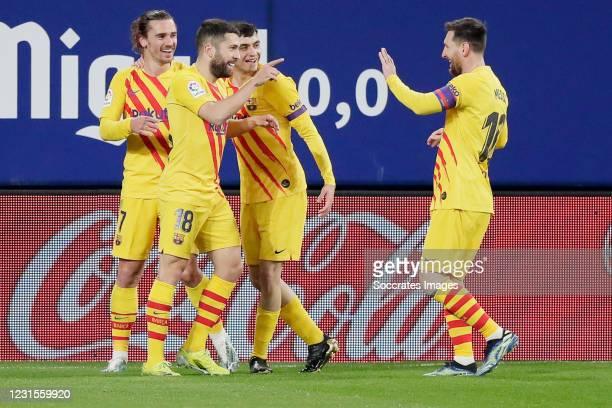Jordi Alba of FC Barcelona Celebrates 0-1 with Lionel Messi of FC Barcelona, Antoine Griezmann of FC Barcelona during the La Liga Santander match...