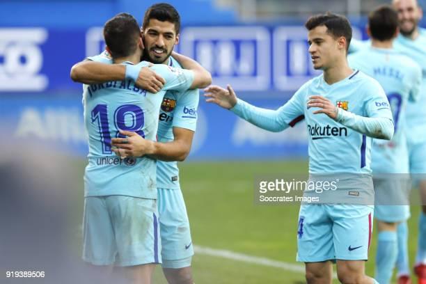 Jordi Alba of FC Barcelona celebrates 02 with Luis Suarez of FC Barcelona Philippe Coutinho of FC Barcelona during the La Liga Santander match...