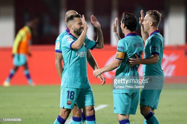 Jordi Alba of FC Barcelona celebrates a goal during the spanish league LaLiga football match played between RCD Mallorca and FC Barcelona at Son Moix...
