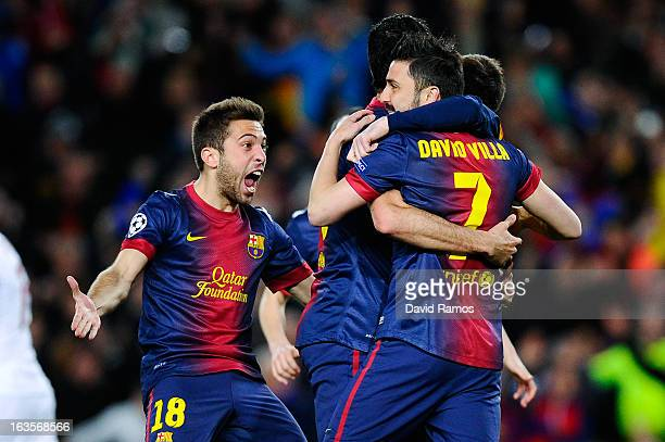Jordi Alba of FC Barcelona celebrates after Lionel Messi of FC Barcelona scored the opening goal during the UEFA Champions League round of 16 second...
