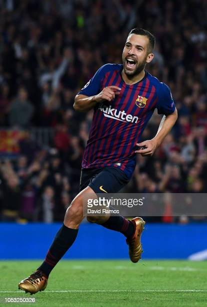 Jordi Alba of FC Barcelona celebrates after scoring his team's second goal during the Group B match of the UEFA Champions League between FC Barcelona...