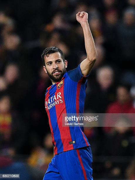Jordi Alba of FC Barcelona celebrates after scoring his team's third goal during the La Liga match between FC Barcelona and RCD Espanyol at the Camp...