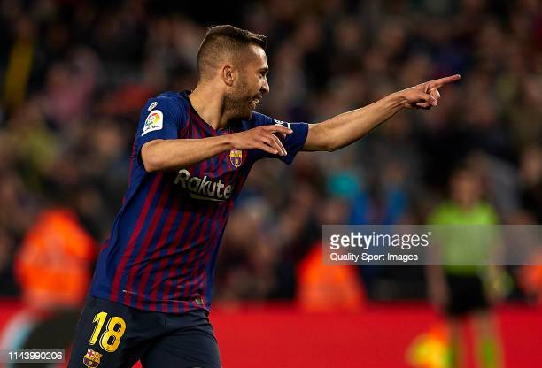 Jordi Alba of FC Barcelona celebrates after scoring the second goal of his team during the La Liga match between FC Barcelona and Real Sociedad at...