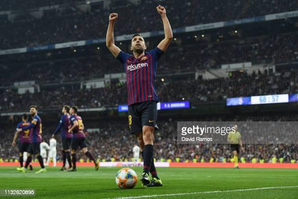Jordi Alba of FC Barcelona celebrates after team mate Luis Suarez had scored their team's second goal during the Copa del Rey Semi Final second leg...