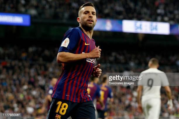 Jordi Alba of FC Barcelona celebrates goal during the Spanish Copa del Rey match between Real Madrid v FC Barcelona at the Santiago Bernabeu on...